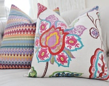 Decorative Floral Pillow - Pink Fuchsia Ivory Red Orange Purple Blue Turquoise Pillow Cover - Designer Throw Pillow - Turquoise Pillow
