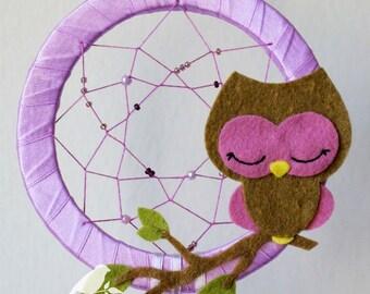 Owl Dreamcatcher in purple or blue - room decor for children  -nursery mobile