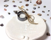 Beach Wedding Seashell Personalized Wedding Ring Dish Ring Porcelain Bearer Pillow Beautiful and Unique MADE TO ORDER