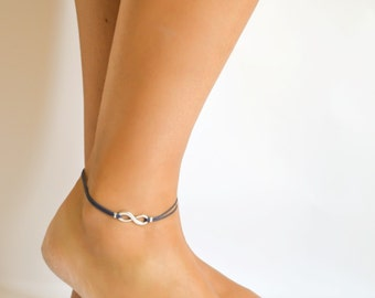 Infinity anklet, blue cord anklet with silver infinity charm, Birthday gift, ankle bracelet, gift for her, minimalist jewelry, yoga anklet