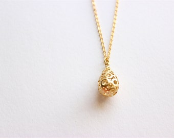 Gold Necklace - Long Necklace - Matte Gold Circle Teardrop Pendant Necklace on Matte Gold Chain