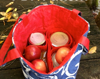 Zero Waste Mason Jar Carrier Bag PATTERN, Jars to Go 4-jar Bag, pint and half pint shopping lunch tote bag - instant download