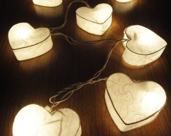 35 Romantic White Hearts LANTERN Paper Handmade Fairy String Lights Party Patio Wedding Floor Table or Hanging Gift Home Decor