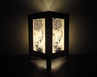 Asian Oriental Thai Cute Family Elephant Zen Art Bedside Floor Table Lamp Desk Paper Light Shades Living Bedroom Furniture Home Decor