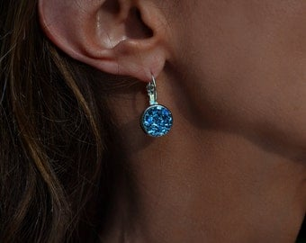 Bismuth Earrings Crystal Earrings Bezel Earrings -Bismuth Jewelry Unique Earrings Dangle Earrings Customizable  Chemistry Gift Science gift