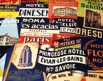 MINI STEAMTRUNK LABELS - 24 Miniature Reproduction Travel Labels based on Vintage Foreign Luggage Tags & Suitcase Stickers, Sticker Pack
