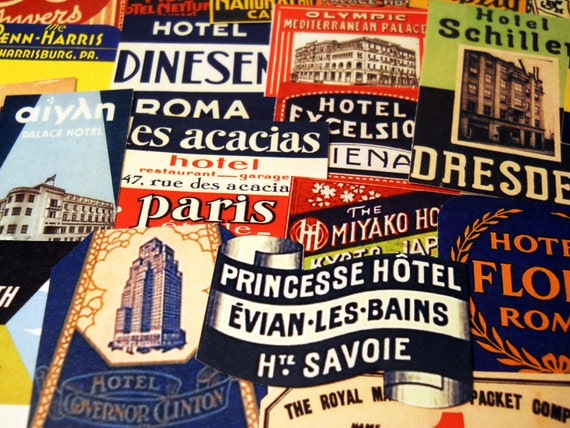 Steamtrunk Labels - 25 Miniature Reproduction Travel Labels based on Vintage Foreign Luggage Tags & Suitcase Stickers, Sticker Pack