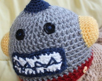 Crochet Robot Hat - Baby Robot Hat - Newborn Photo Prop - Crochet Baby Hat - Baby Boy Hat - Boy Baby Shower Gift - Winter Hat