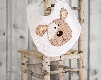 baby bib embroidered cute dog, Baby bibs for little boy and girl up to 3 years old