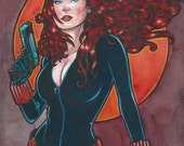 Avengers Black Widow Original Watercolor Painting...