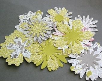 Handmade paper flowers, paper embellishments set of 8