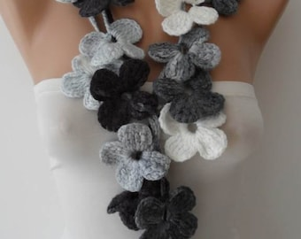 Handknit flowered scarf -  Gray shades scarf