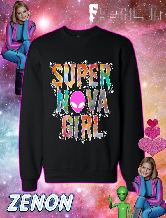 Items similar to SUPERNOVA GIRL Galaxy Print Sweatshirt in ...