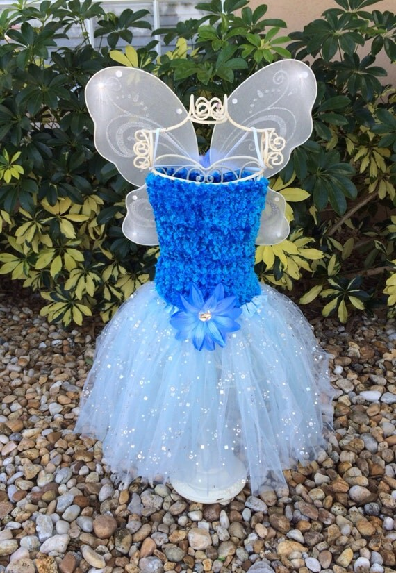 Frozen Blue Tutu Dress, Frozen Blue fairy Wing Dress Up Set, Blue Tutu Top, Princess Party Favors, Tinkerbell Party Favors,