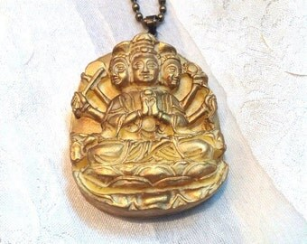 3-Headed Buddha Necklace Gilded Vintage Image in Resin