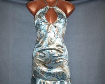 Ladies Lt Blue & Brown Paisley Halter Dress sz L