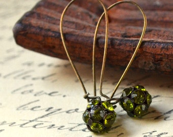 SALE Lime Green Faceted Rhinestone Drop Earrings Bead Ball Sparkle Dangle Antique Bronze Large Kidney Wires Fashion Jewelry Free Shipping