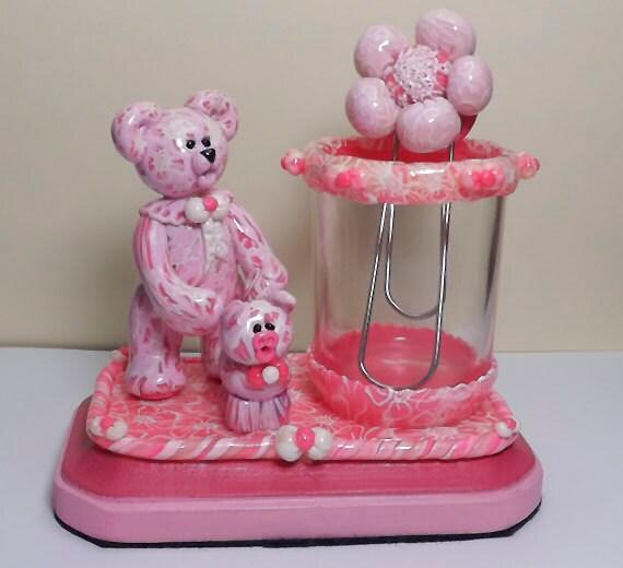 Strawberry Creme  Bear and Strawberry Pie Piglet Desk Set