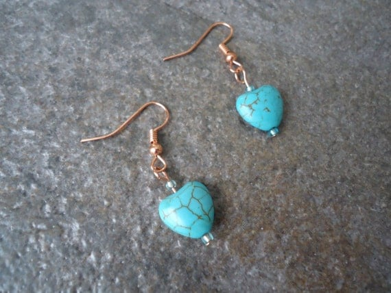 Dainty Minimalist Teal Turquoise Light Blue Magnasite Magnesite Stone Heart Copper Love Romantic Earrings