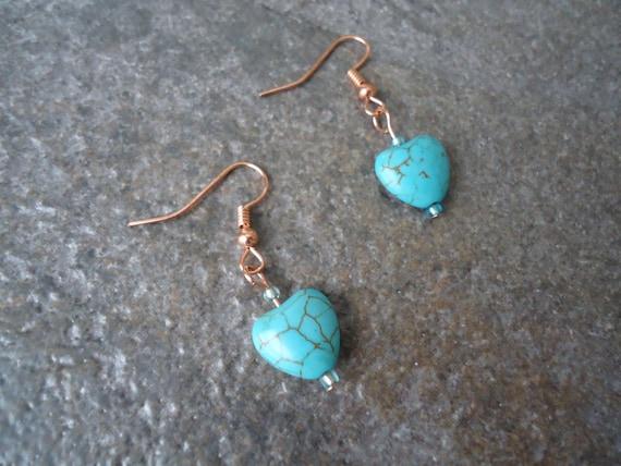 Dainty Minimalist Teal Turquoise Light Blue Magnasite Magnesite Stone Heart Copper Love Romantic Earrings