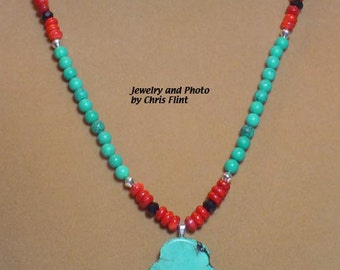 21 inch TURQUOISE and Red Coral necklace - AWESOME! - N112