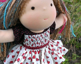 Waldorf Doll Dress - Smocking and Ladybugs