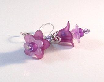 Purple, Lavender & Silver Fairy Flower Earrings, Flower Jewelry, Purple Jewelry, Lavender Jewelry, Jewelry for Women, Gifts for Women