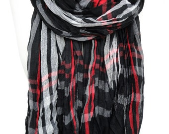 Black Scarf. Plaid Scarf. Black Red Scarf. Pashmina Unisex Scarf. Crinkle Scarf. Fringed Scarf. Man Scarf. 35x70in (90x180cm) Ready2Ship
