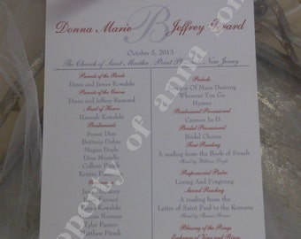 Winter Wedding Ceremony Programs with Ribbon- Personalized Color and Motif at no extra charge