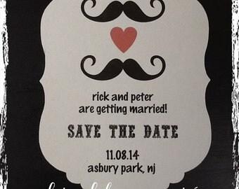 Flourish Die-Cut Shape - Mr. & Mr. Save the Dates! Personalize your color, fonts, etc! LGBT