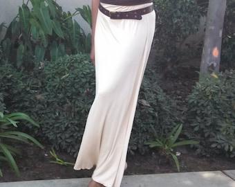 Classic A-Line Knit Maxi Skirt - Vanilla - XS Through 4X