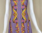 DNA Print Dress Lilac - Scientist Lab Wear - Women in STEM Inspired - Science Dress - Double Helix Genes Dress