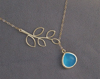 Aqua Bridesmaid Necklace, Ocean Blue Necklace - Gold Twig and Faceted Stone on Gold Filled Chain - Malibu Blue, Wedding, Bridal