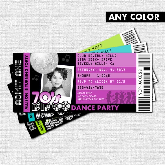 Disco ticket invitations 7039s dance birthday party by for 70 s wedding invitations