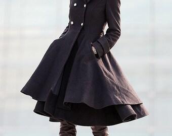 Black Coat Big Sweep Double breasted Wool Coat Winter Coat Long jacket-C219