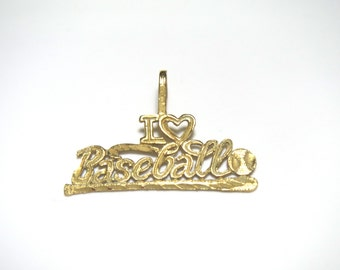 14k Yellow Gold I Love Baseball Pendant Charm