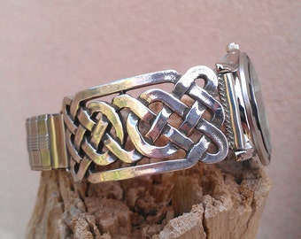 Celtic Knot-work Silver Men's Watch Band - Made to Order