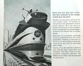 Atomic Train ad - 1960 futuristic atomic railroad ad, railway collectible or wall art to frame