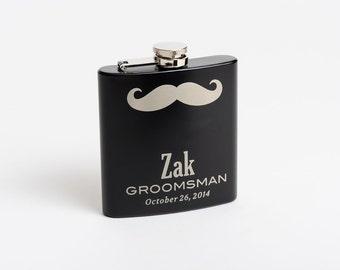 Engraved Flask, Groomsmen Gift, Mustache Flasks, Engraved Stainless Steel Flask, Monogram Flask, Flask