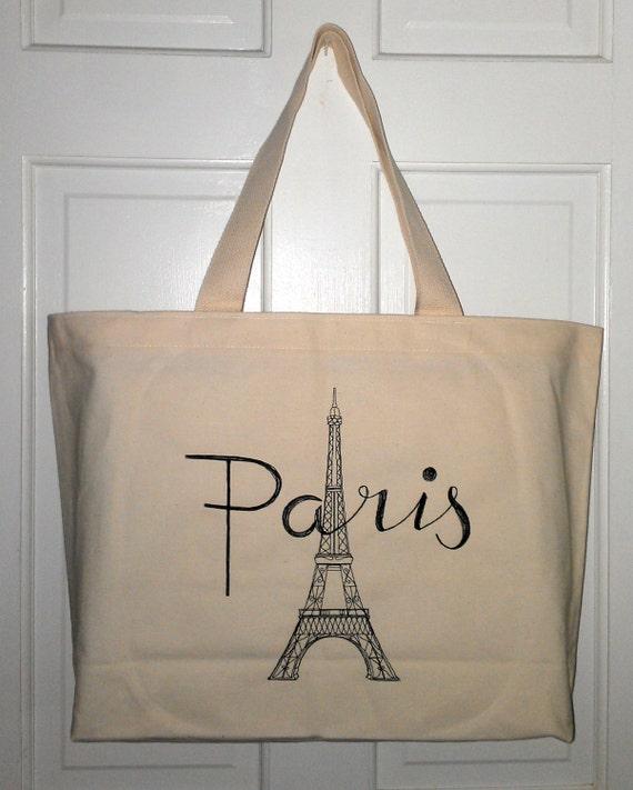 Paris Eiffel Tower tote purse JUMBO cotton canvas tote market purse book bag embroidered