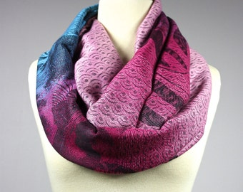 Ombre Infinity Scarf / floral scarf / ombre scarves / Pink scarf, blue scarf