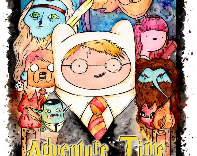 Poster Print Harry Potter Adventure Time Mashup inkjet print. Watercolor painting, fan art.
