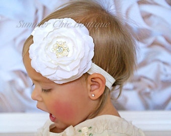 Ivory Baby Headband, Infant Headband. Toddler Headband, Girls Headband - Ivory, Cream, Ranunculus Headband