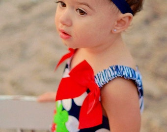 Fourth of July Headband, Navy Blue Baby Headband, Infant Headband, Newborn Headband - Shabby Chic Headband, Navy Blue Headband