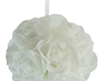 Garden Rose Kissing Ball - White - 6 inch Pomander