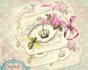 Gift Tags, Large Vintage Style Ornamental Bee and Crown Gift Tags with Roses- INSTANT Digital Download
