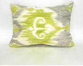 Lumbar Pillow Cover Green Pillows Richloom Dorrigan Ikat Celery