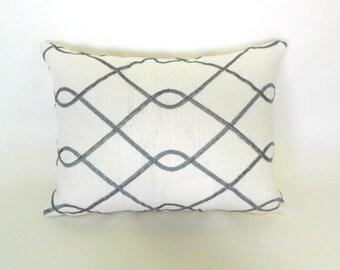Lumbar Pillow Covers Decorative Pillows Grey Pillow Embroidered Pillow Duralee Rico Grey