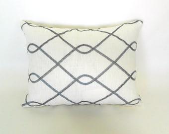 Lumbar Pillow Cover ANY SIZE Decorative Pillows Grey Pillow Embroidered Pillow Duralee Rico Grey