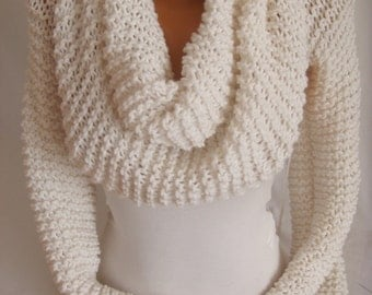 Hand Knit Cozy Wrap Neckwarmer Scarf Shawl Bolero Shrug Shawl Gift Ideas For Her Women Accessories Winter Accessories Christmas Gifts